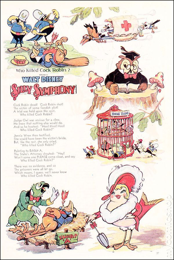 Walt Disney Silly Symphony Who Killed Cock Robin Comic Books