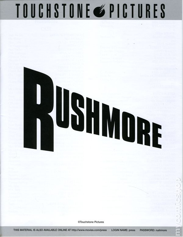 Rushmore Promotional Media Kit 1998 Comic Books