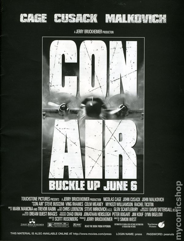 Con air media press kit 1997 touchstone comic books for Touchstone promotional products