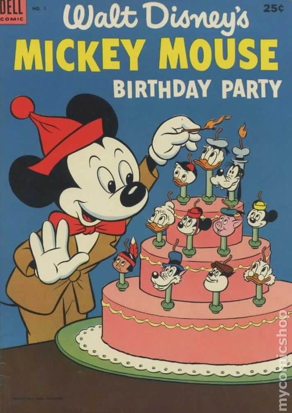 Dell giant mickey mouse birthday party 1953 comic books