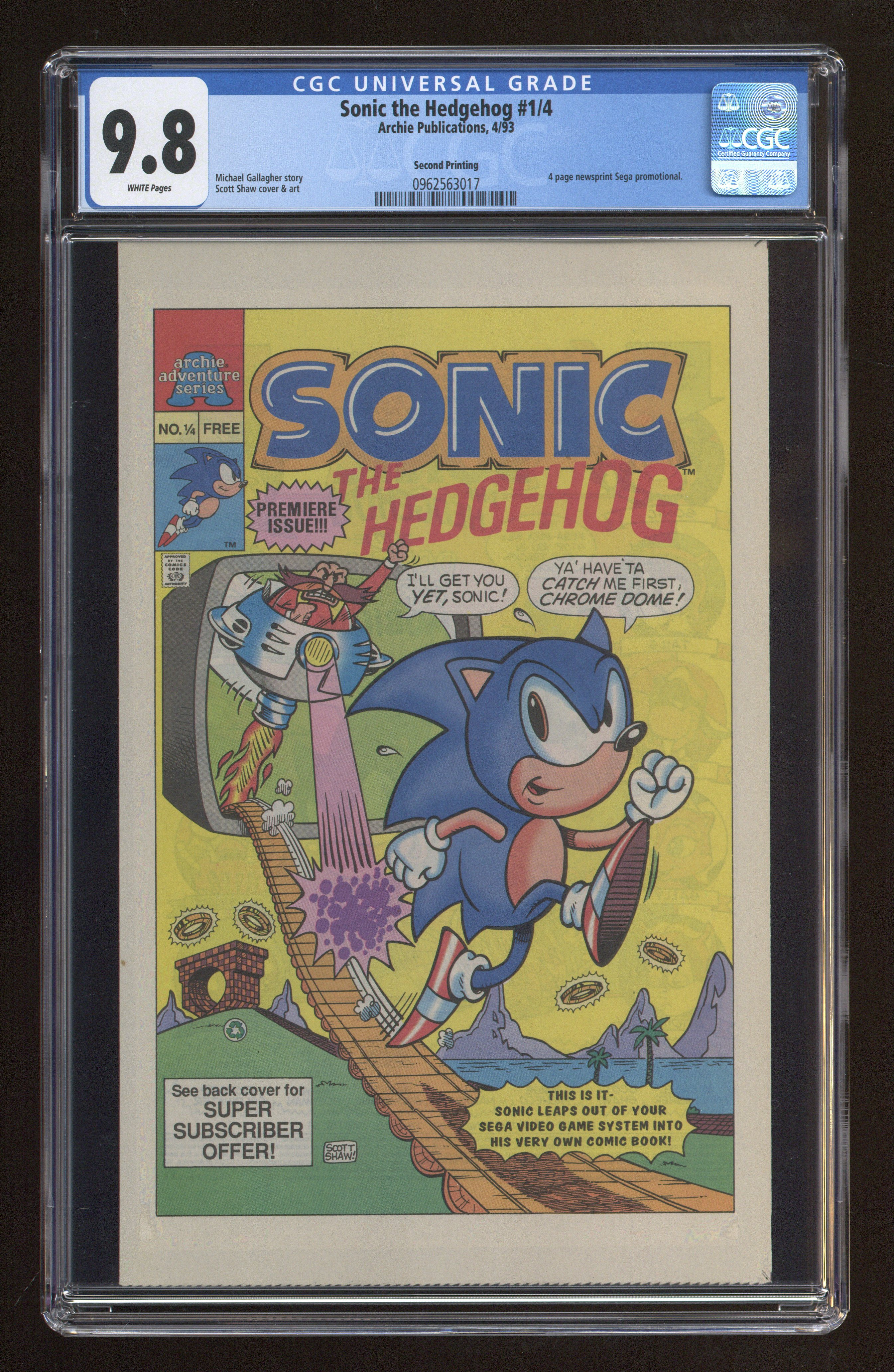 Sonic the Hedgehog comic books issue 1 graded by CGC