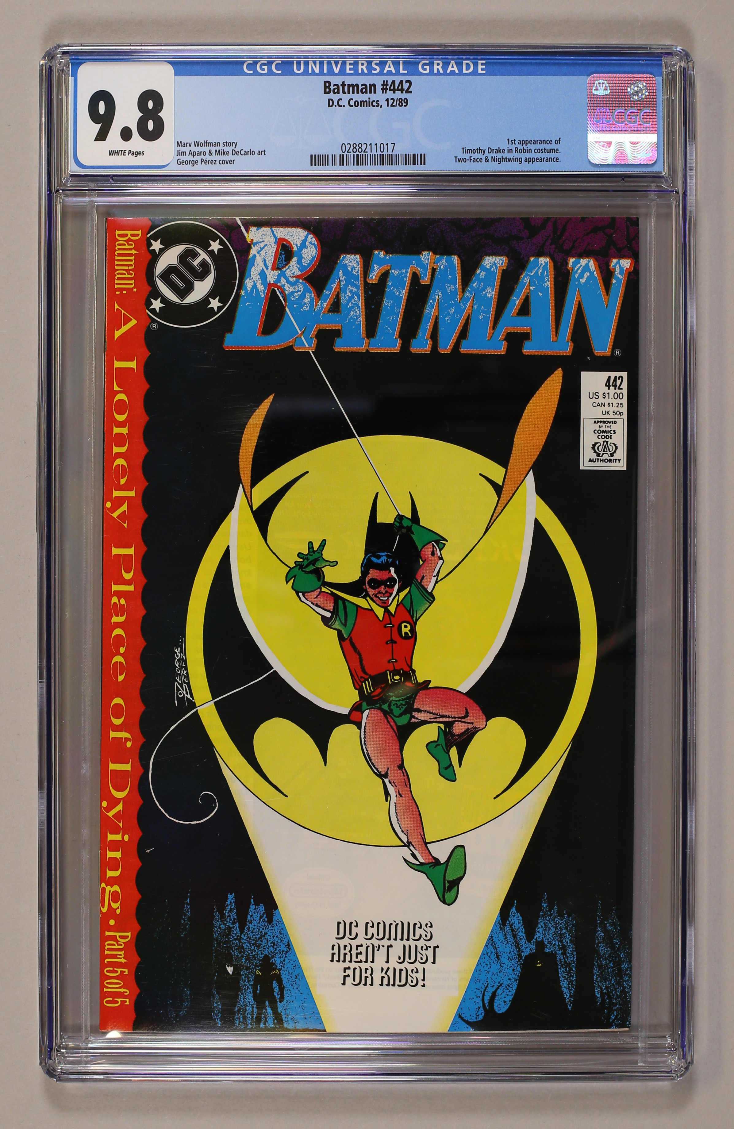 BATMAN #442 NEAR MINT 1989 DC COMICS A LONELY PLACE OF DYING 1st TIM DRAKE ROBIN