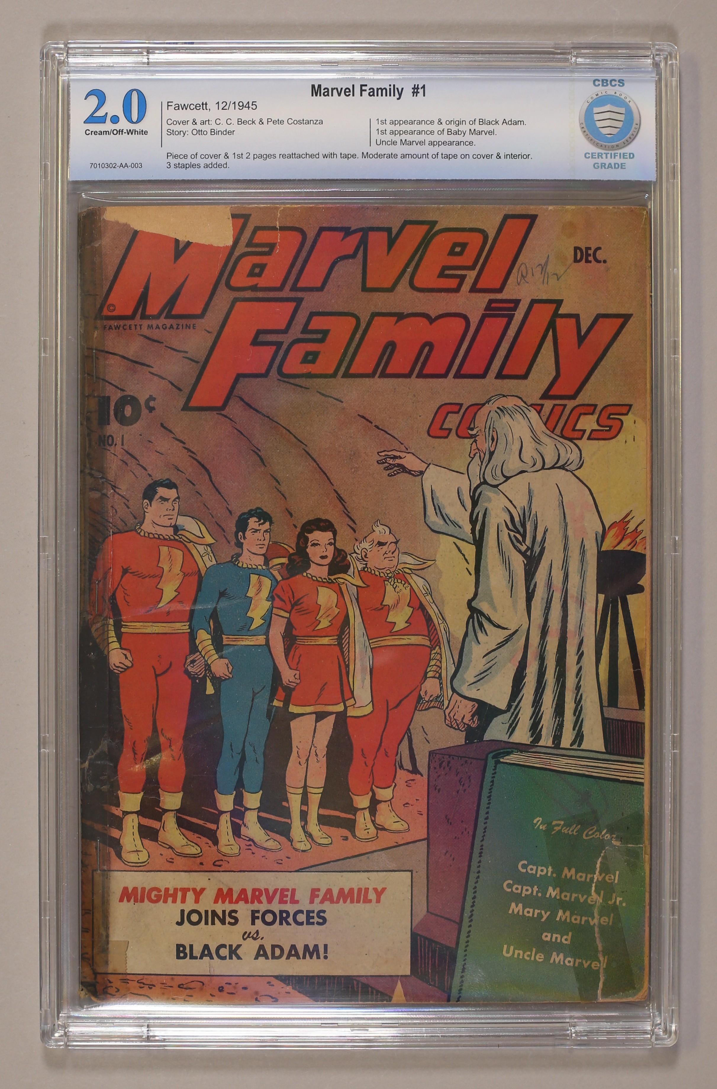 marvel family 1945 comic books graded by cbcs