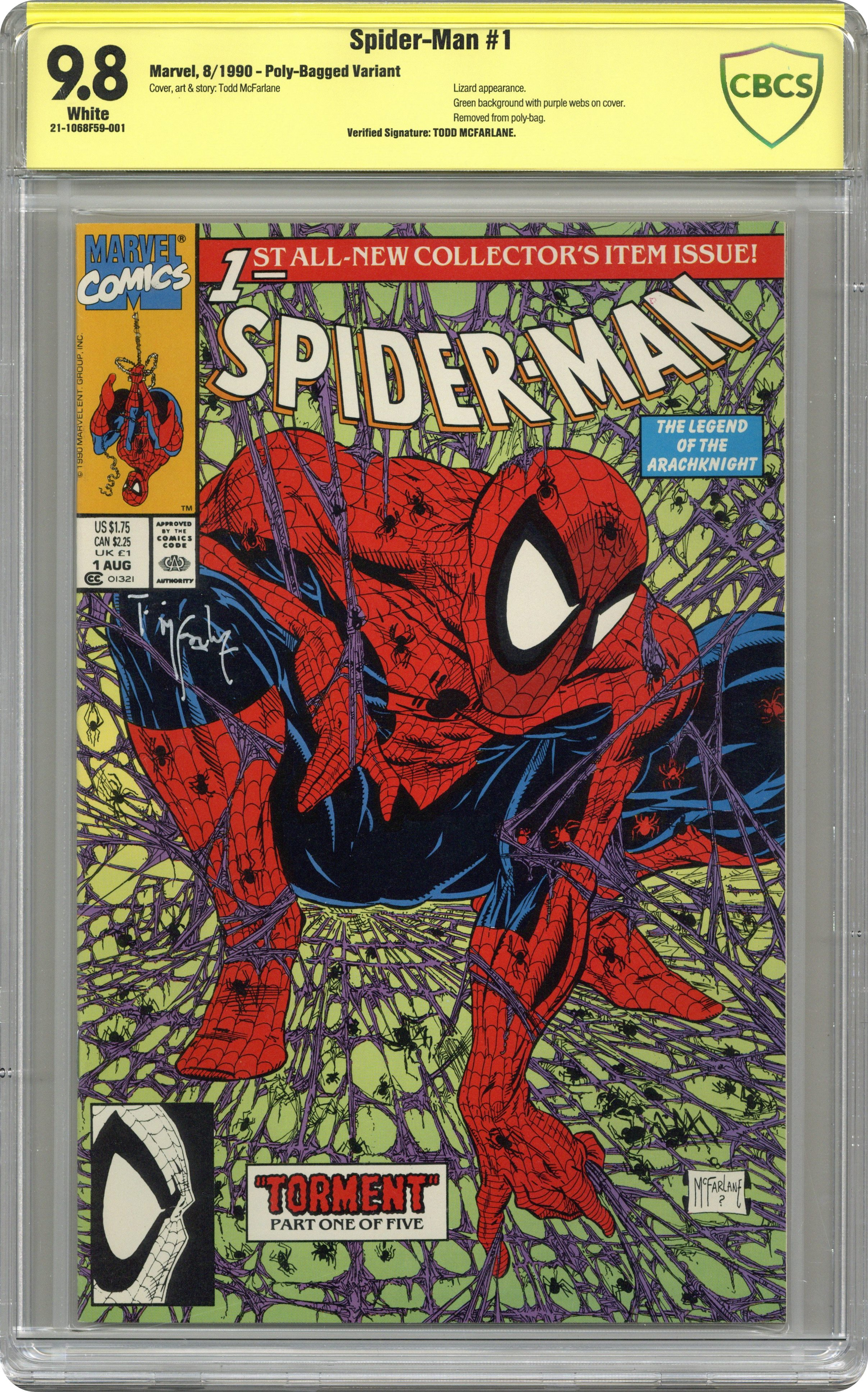 Marvel Spider-man #4 Torment Signed by Stan Lee w//COA Todd McFarlane Cover
