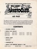 Aristocats Promotional Ad Pad (1970) 1-1ST