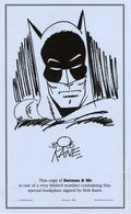 Batman and Me Limited Bookplate Signed by Bob Kane (1995) ITEM#1