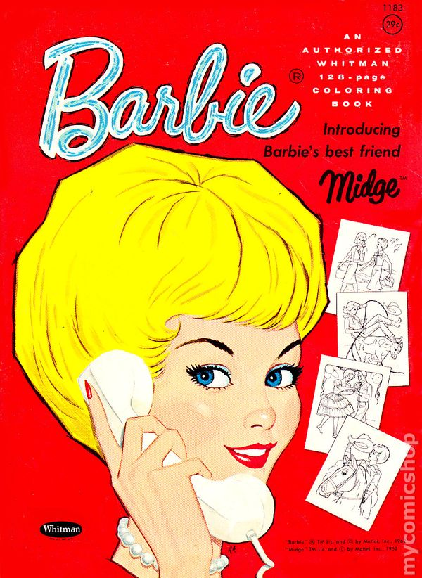 Barbie Coloring Book Introducing Midge SC 1962 Whitman Comic Books