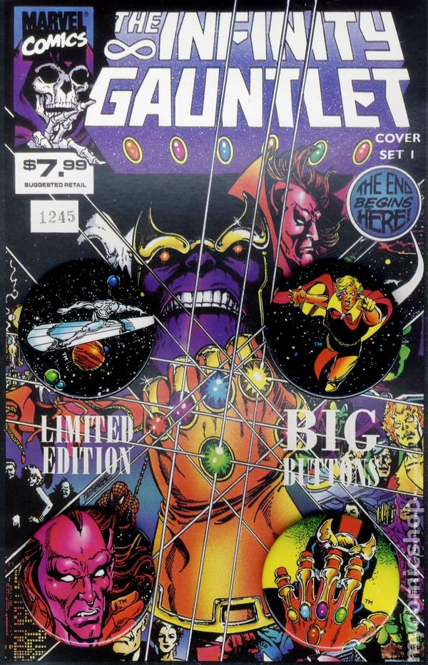 infinity gauntlet big button set 1991 limited edition comic books