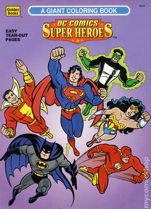 dc comics super heroes a giant coloring book sc 1996 golden books comic books - Giant Coloring Book