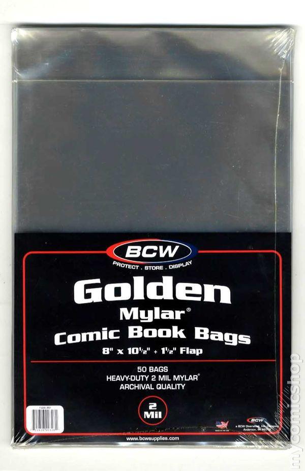Mylar: Comic, Golden 50pk 2Mil comic books in grade VF or lower