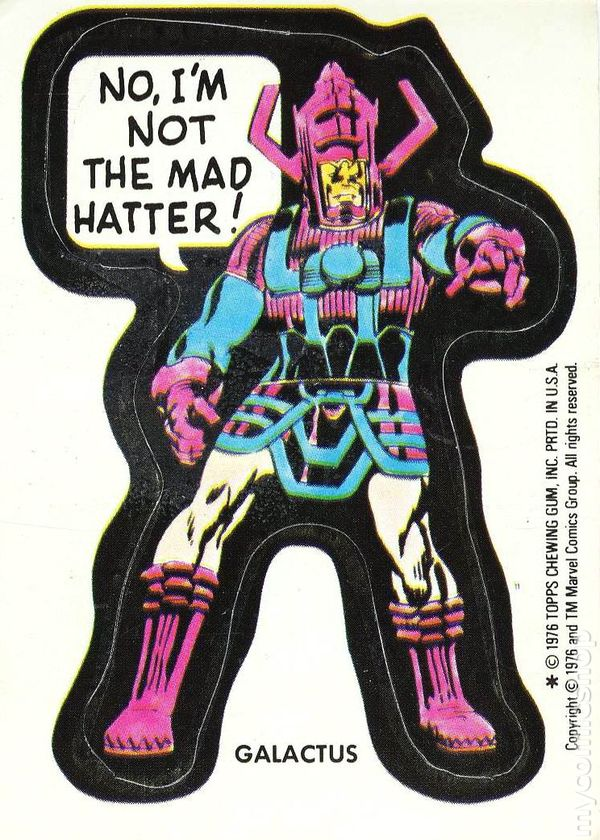 Topps marvel comic book heroes sticker trading cards 1976 galactus