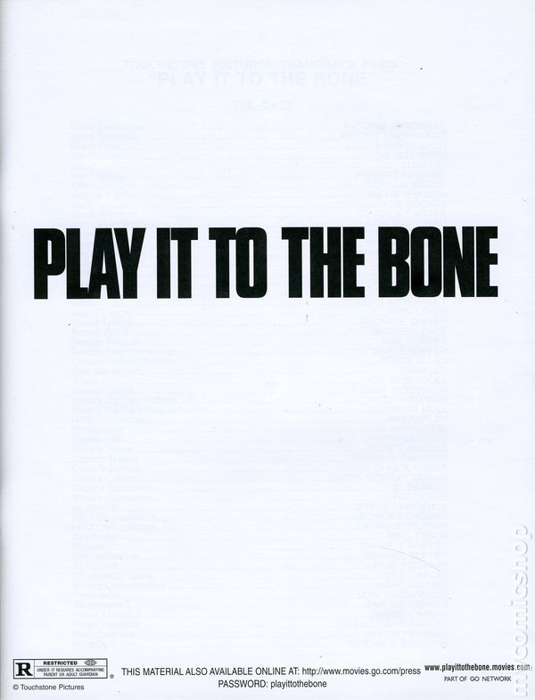 Play it to the bone promotional media book 1999 comic books for Touchstone promotional products