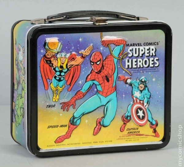 Metal Lunch Tin Part - 44: Marvel Comics Super Heroes Lunch Box (1976 Aladdin) ITEM#1