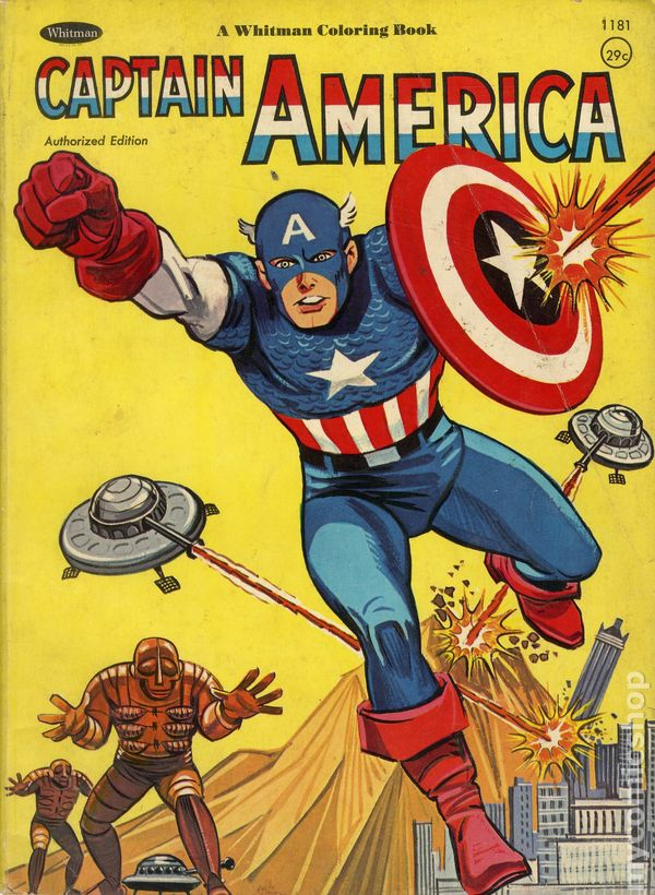Captain america coloring book sc 1966 whitman 1181