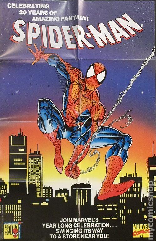RARE 1992 Promo Poster MARVEL COMICS SPIDER MAN 30TH ANNIVERSARY 9 X 11