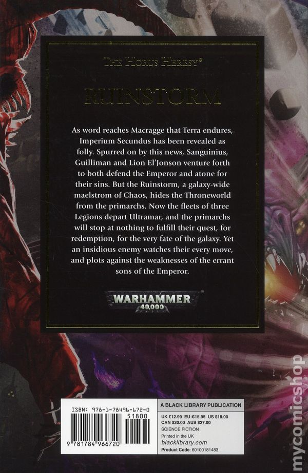 Warhammer 40K Ruinstorm SC (2018 Black Library) A Horus Heresy Novel 1-1ST  NM