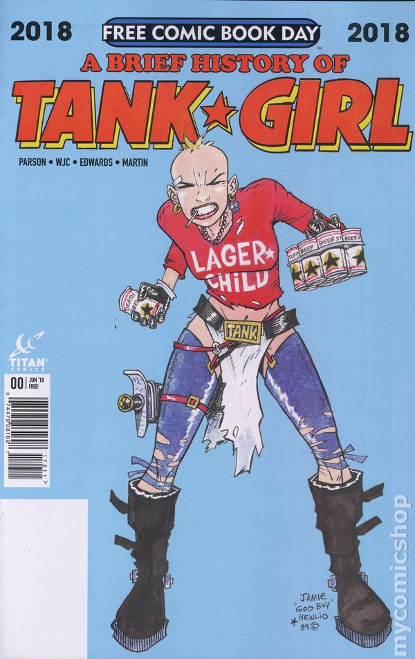 Tank Girl Free Comic Book Day FCBD 2018 Brief History Parsons Titan Comics VF