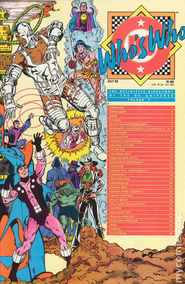 Whos Who The Definitive Directory Of The Dc Universe 1985 Comic