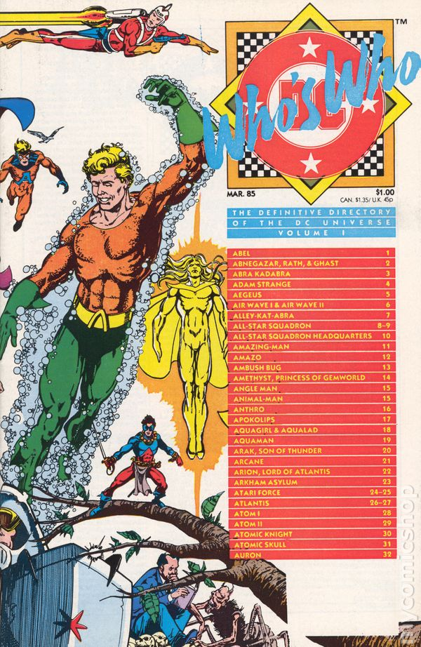 Whos Who The Definitive Directory Of The Dc Universe 1985 Comic Books