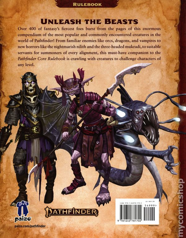 Pathfinder Bestiary HC (2019 Paizo) RPG 2nd Edition 1-1ST NM