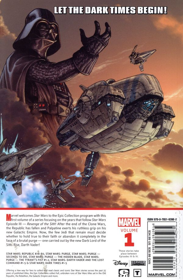 Comic Books In Marvel Epic Collection Star Wars Legends