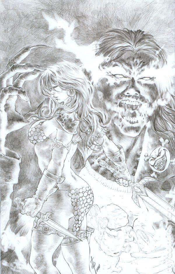 Red Sonja Age of Chaos 4 Alan Quah 1:11 Black White Virgin Sketch variant 2020