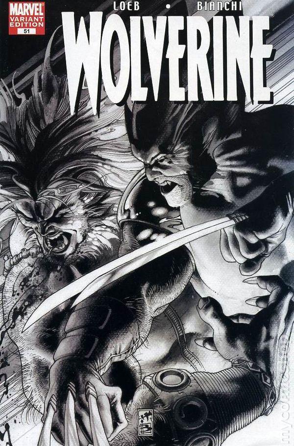 Wolverine #55 Marvel Comics Sabretooth Black /& White Land Variant Loeb 2007